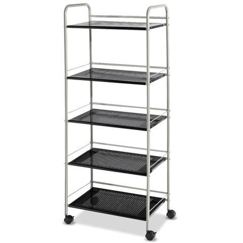 Costway 5 Tiers Garage Kitchen Storage Cart Rack Mesh Shelf Utility - 19.5''x12.5''x 49.5''