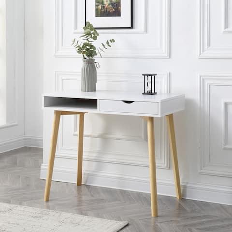 Contemporary White Austin Hardwood Home Office Desk