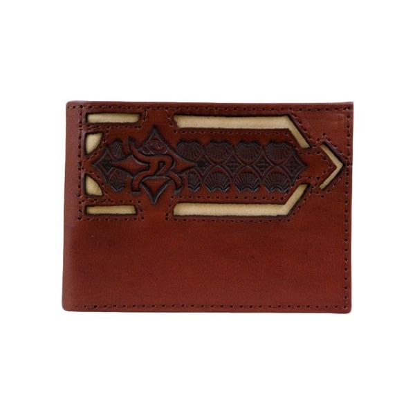 HOOey Western Wallet Men Bifold Roughy Tooled Inlay Chestnut - 4 x 3/4 x 3