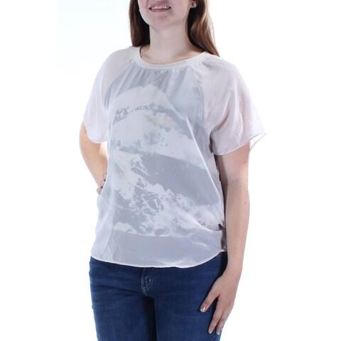 KIIND OF $69 Womens New 2469 White Jewel Neck Short Sleeve Casual Top L B+B