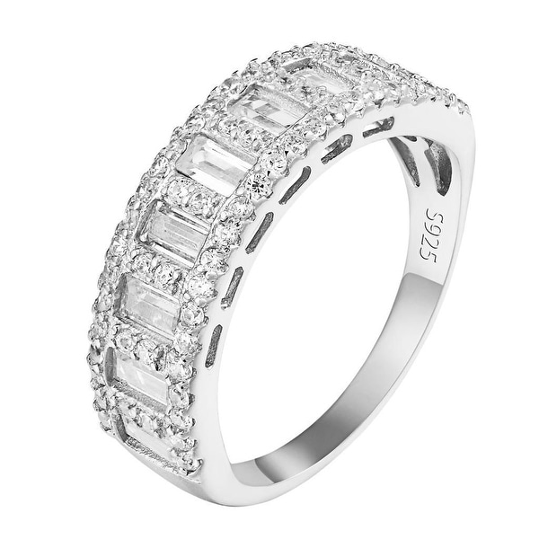 Sterling Silver Ring Womens Baguette Lab Diamonds Bridal Promise