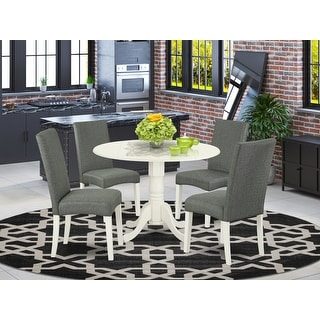 Link to Round 42 Inch Table and Parson Chairs in Gray Linen Fabric (Number of Chairs Option) Similar Items in Dining Room & Bar Furniture