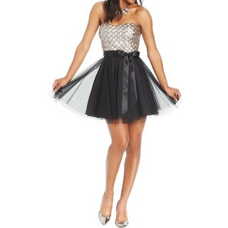 Teeze Me Womens Juniors Cocktail Dress Mixed Media Sequin - 11