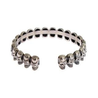 Nialaya Silver 925 Skull Crystal Bangle Bracelet