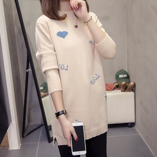 2019 New Fat Mm Half High Collar Slim Mid-Length Loose Sweater. Opens flyout.