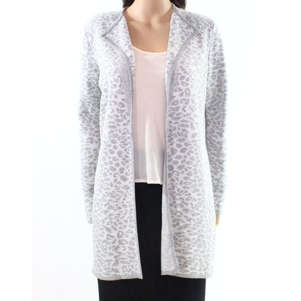 9fd4ac956b0d Shop Karl Lagerfeld NEW Gray Womens Large L Leopard Print Cardigan Sweater  - Free Shipping On Orders Over $45 - Overstock - 20688506