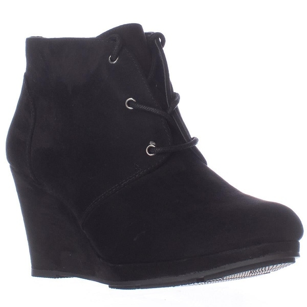 SC35 Alaisi Lace Up Wedge Booties, Black