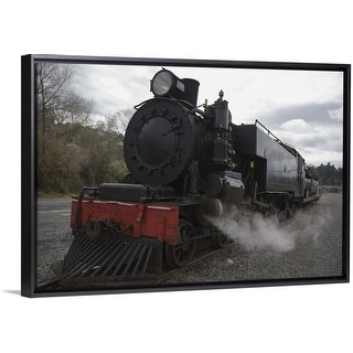 """Old steam train working in Taihape, New Zealand"" Black Float Frame Canvas Art"
