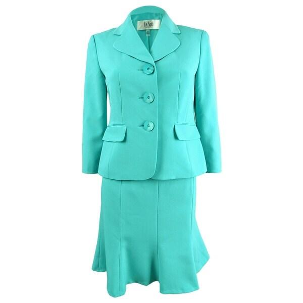 Le Suit Women's Three-Button Crepe Skirt Suit. Opens flyout.