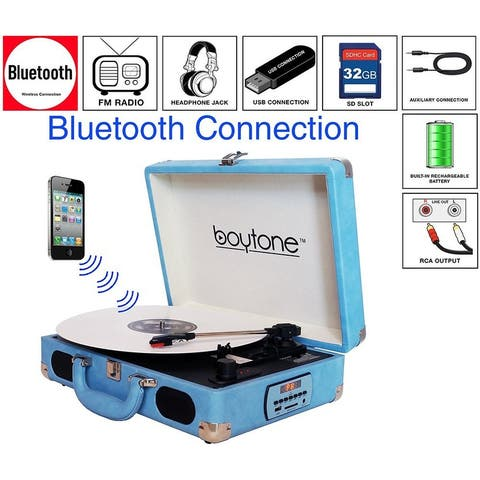Boytone BT-101LB Bluetooth Turntable Briefcase Record player AC-DC, Built in Rechargeable Battery, 2 Stereo Speakers 3-speed