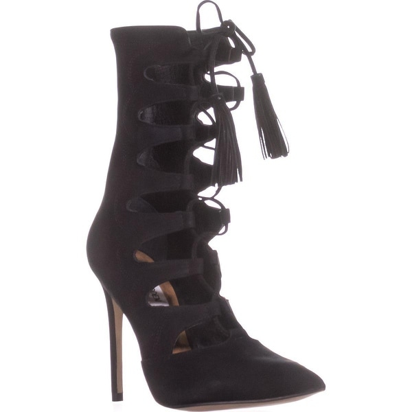 Steve Madden Piper Pointed Toe Lace Up Boots, Black