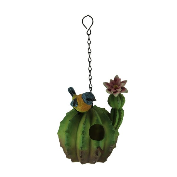 Green Round Flowering Cactus Hanging Birdhouse - 7.25 X 6 X 6 inches