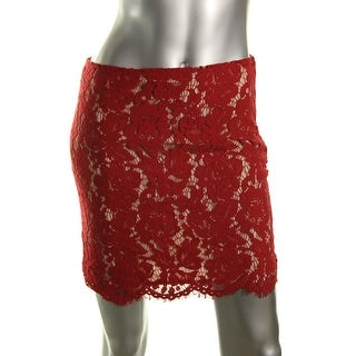 Lucy Paris Womens Lace Above Knee Pencil Skirt