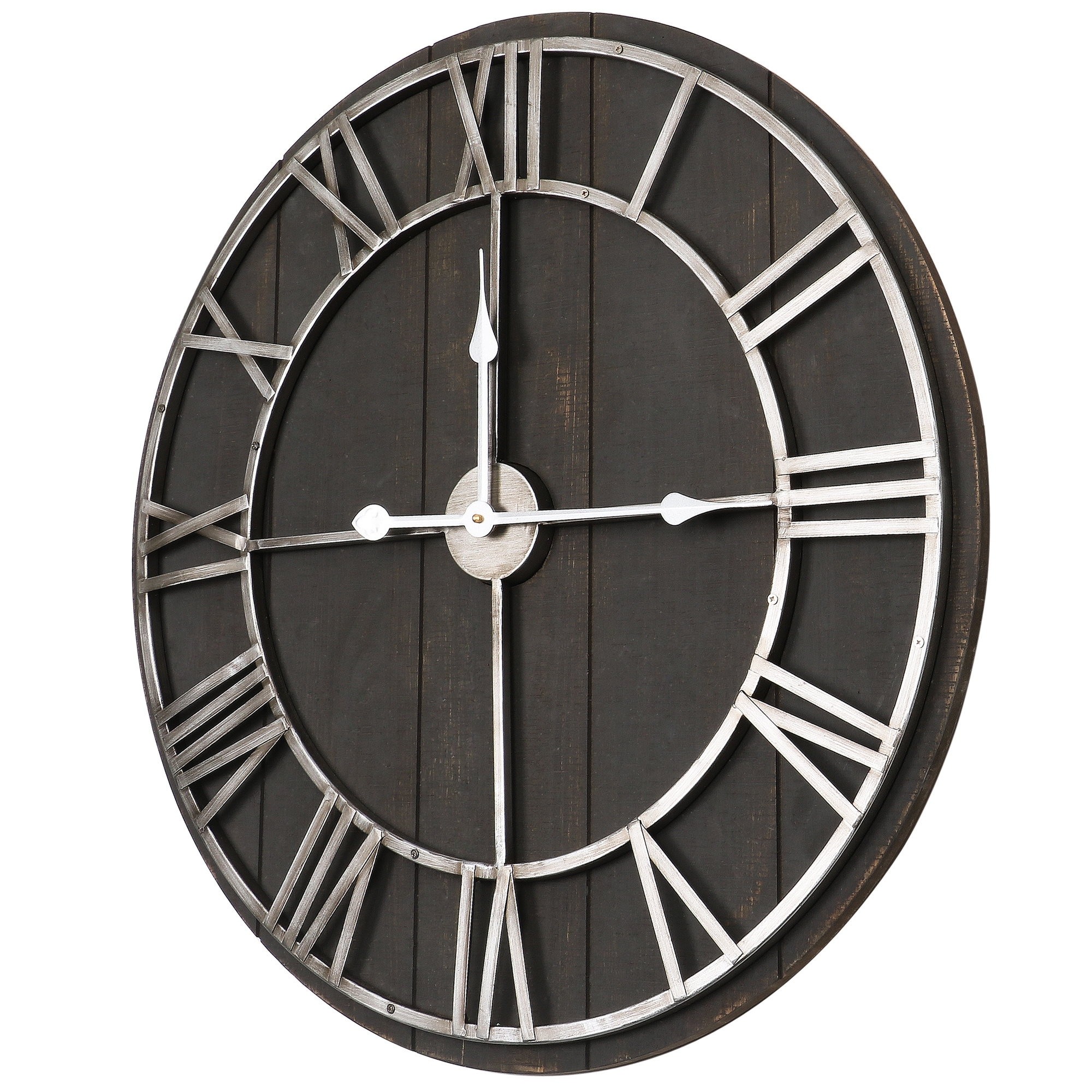 Oversized Roman Round Wall Clock 28 In Dark Wood Finish On Sale Overstock 22522994
