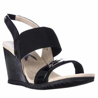 Anne Klein Sport Mikki Wedge Slingback Sandals - Black/Black