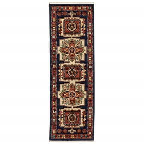 Blue Red Machine Woven Medallions Indoor Rug