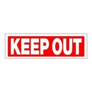 """4"""" x 16"""" Red and White """"Keep Out"""" Swimming Pool Security Sign"""