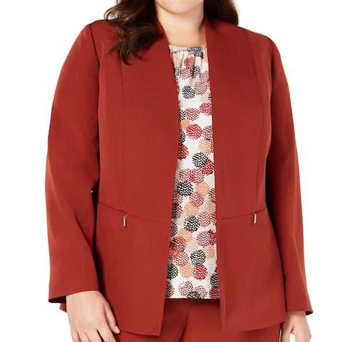 Kasper Womens Jacket Rust Orange Size 14W Crepe Stretch Kiss-Front