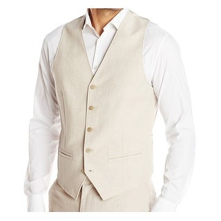 Cubavera NEW Khaki Beige Mens Size Small S Woven Button-Front Vest