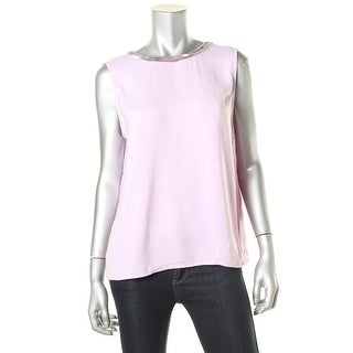 DKNYC Womens Crepe Embellished Pullover Top - M