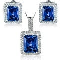 """Sterling Silver Radiant-Cut Cubic Zirconia Double Halo Earrings and Necklace 18"""" Set - Thumbnail 6"""