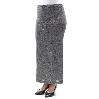 Womens Black Silver Maxi Pencil Skirt Size 4