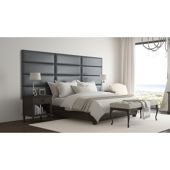 Vant Upholstered Wall Panels (Headboards) Sets of 4 - Deluxe Leather - Graystone - 39 Inch - Twin-King.