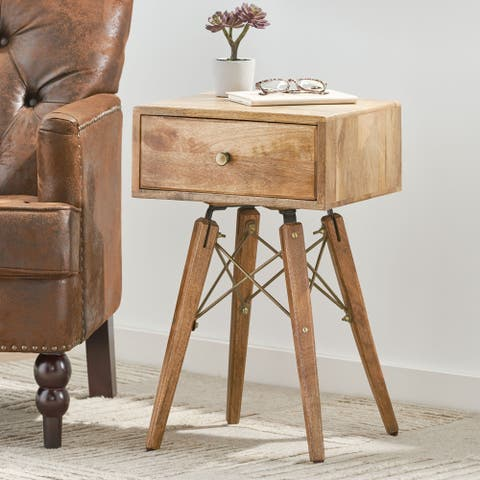 Lithonia Indoor Mango Wood Handcrafted Side Table by Christopher Knight Home