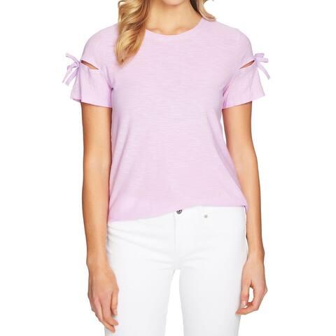 CeCe Purple Tie-Sleeve Cutout Women's Size Large L T-Shirt Blouse
