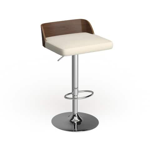 Carson Carrington Marstrand Walnut Wood and Chrome Mid-century Modern Adjustable Barstool