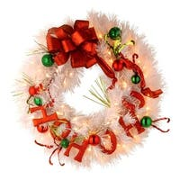 "24"" Decorative Collection Ho Ho Ho Wreath with Battery Operated Warm White LED Lights - RED"