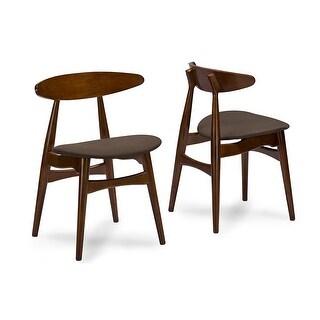 Flamingo Mid-Century Dark Walnut Wood Grey Fabric Dining Chairs - 2 Chairs
