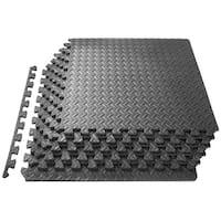 "ProsourceFit Puzzle Exercise Equipment Floor Mat EVA Foam Interlocking Tiles 24"" x 24"" (6 Piece)– Grey - 24""l x 24""w x  ¾""h"