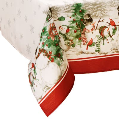 Snowman Winterland Holiday Snowflake Tablecloth