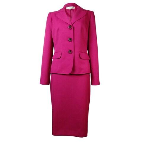 Evan Picone Women's Park Avenue Notch Flap Pocket Skirt Suit - deep rose
