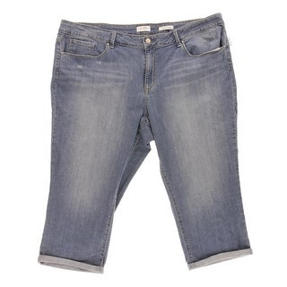 Jessica Simpson Womens Plus Cuffed Mid-Rise Capri Jeans - 14W