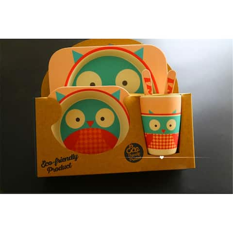 5PCS Portable Kids & Baby Cute Cartoon Food Tableware Set - Pink