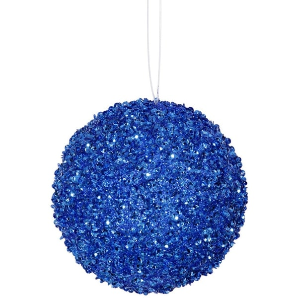 "4ct Cobalt Blue Sequin and Glitter Drenched Christmas Ball Ornaments 4"" (100mm)"