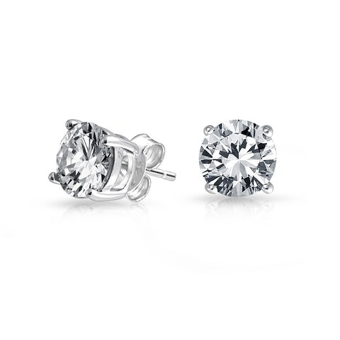 Bling Jewelry Basket Set Unisex Round CZ Stud earrings 925 Sterling Silver 9mm