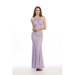 Chiffon and Lace Sequin Gown with Pearl Neckline