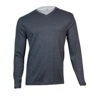 John Ashford Men's Ribbed V-Neck Shirt (Cindersmoke, XXL) - cindersmoke heather - XXL