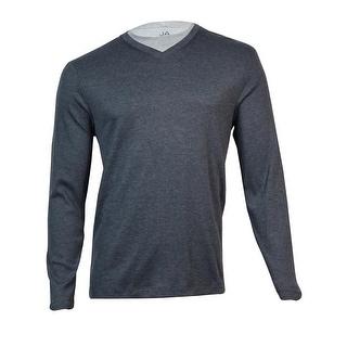 John Ashford Men's Ribbed V-Neck Shirt (Cindersmoke Heather, M) - M