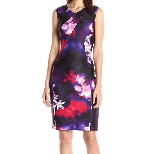 48039bedbcbf Calvin Klein NEW Purple Womens Size 8 Scuba Floral Printed Sheath Dress