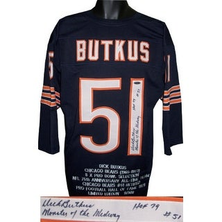 Dick Butkus signed Navy TB Custom Stitched Pro Style Football Jersey 3/4 sleeve triple HOF, Monster of the Midway & #51 w/Stats