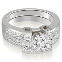 2.20 cttw. 14K White Gold Channel Set Diamond Princess and Round Cut Bridal Set