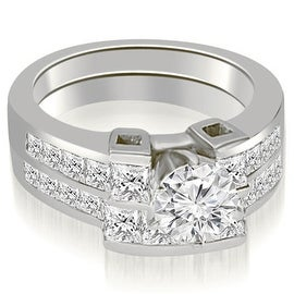 2.70 cttw. 14K White Gold Channel Set Diamond Princess and Round Cut Bridal Set