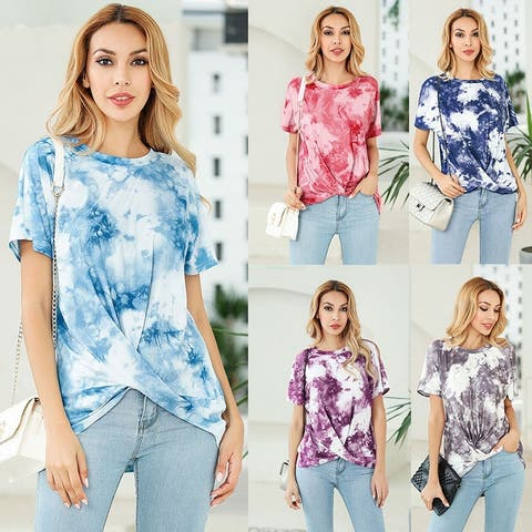 Spring Summer New Short-Sleeved Collar Tie-Dyed Kink T Shirt