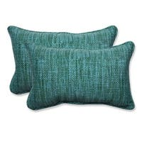 Set of 2 Caribbean Blue and Green Beach Horizon Outdoor Corded  Rectangle Throw Pillows 18.5""