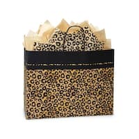 "Pack Of 25, Vogue 16 x 6 x 12.5"" Leopard Safari Recycled Kraft Paper Shopping Bag Made In Usa"