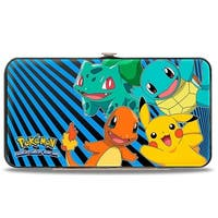 Kanto Starter Pokmon & Pikachu Pokmon Logo Rays Black Blue Hinged Wallet - One Size Fits most